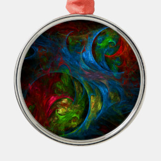 Genesis Blue Abstract Art Round Christmas Ornament