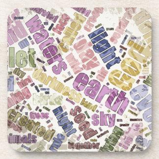 Genesis Chapter 1 Word Cloud Coasters