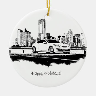 Genesis Coupe Side Shot Black Brushstroke Christmas Ornament
