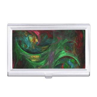 Genesis Green Abstract Art Business Card Holder