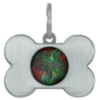 Genesis Green Abstract Art Pet Name Tag