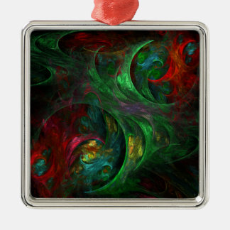 Genesis Green Abstract Art Square Christmas Ornament