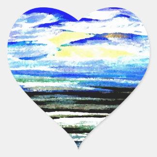 Genesis Ocean Waves Sparkly Seascape Gifts Art Heart Sticker