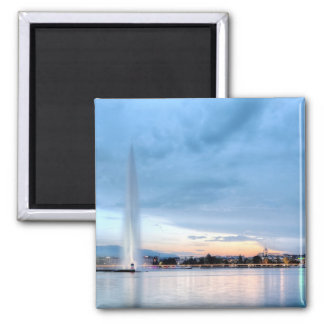 Geneva fountain, Switzerland Square Magnet