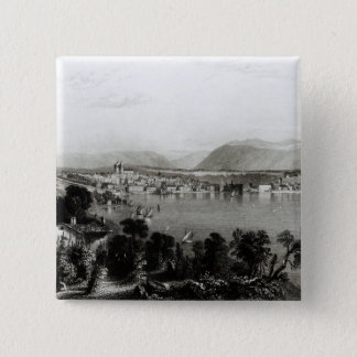 Geneva from Coligny, engraved by Robert Wallis 15 Cm Square Badge