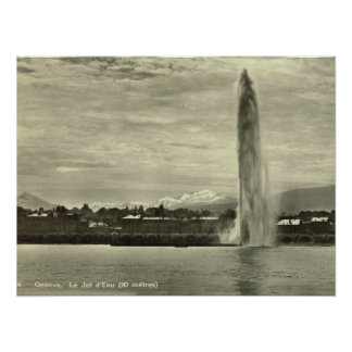 Geneva, Jet l'eau in the harbour Poster