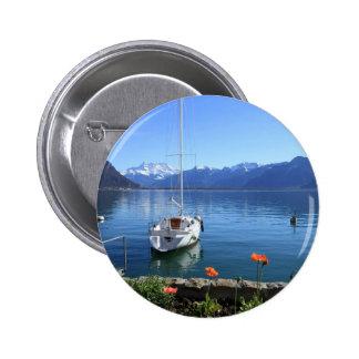 Geneva lake scenery, Montreux, Switzerland 6 Cm Round Badge