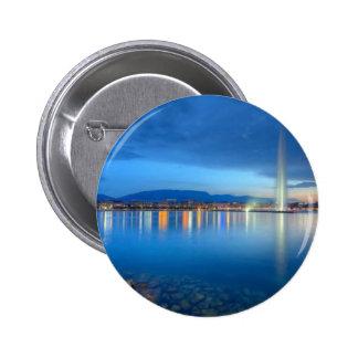 Geneva panorama with famous fountain, Switzerland, 6 Cm Round Badge