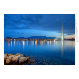 Geneva panorama with famous fountain, Switzerland, Card