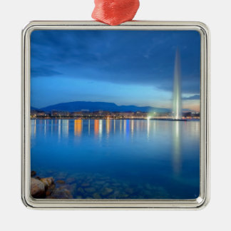 Geneva panorama with famous fountain, Switzerland, Silver-Colored Square Decoration