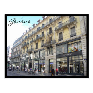 genève building postcard