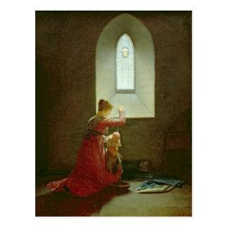 Genevieve of Brabant Baptising her Son in Prison Postcard