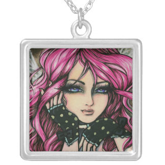 Genevieve Steampunk Pink Fantasy Fairy Art Hannah Silver Plated Necklace