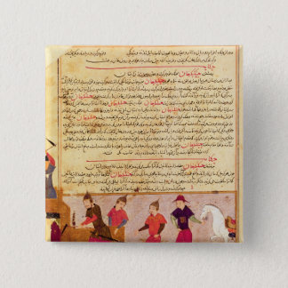 Genghis Khan and his sons by Rashid al-Din 15 Cm Square Badge