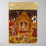 Genghis Khan in his tent by Rashid al-Din Print