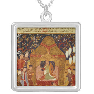 Genghis Khan in his tent by Rashid al-Din Silver Plated Necklace