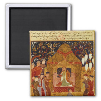 Genghis Khan in his tent by Rashid al-Din Square Magnet