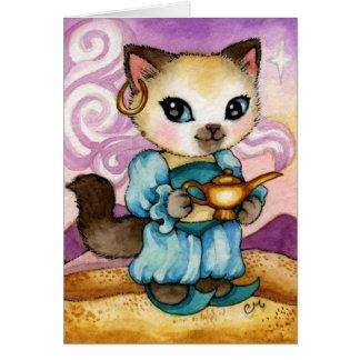 Genie s Lamp Aladdin Kitty - Cute Cat Card