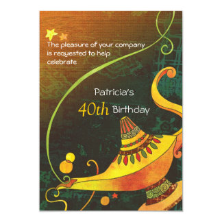 Genie's Lamp Magical Birthday Party 13 Cm X 18 Cm Invitation Card