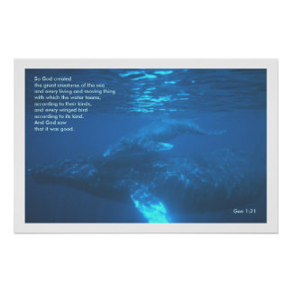 Genisis 1:21  WHALE POSTER PRINT