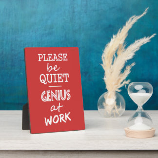 Genius at Work custom color plaque