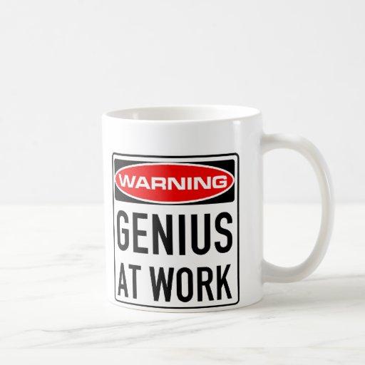 Genius At Work Funny Warning Road Sign Basic White Mug