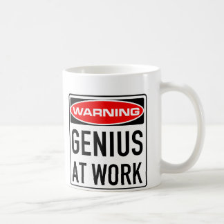 Genius At Work Funny Warning Road Sign Coffee Mug