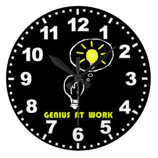 Genius at work large clock