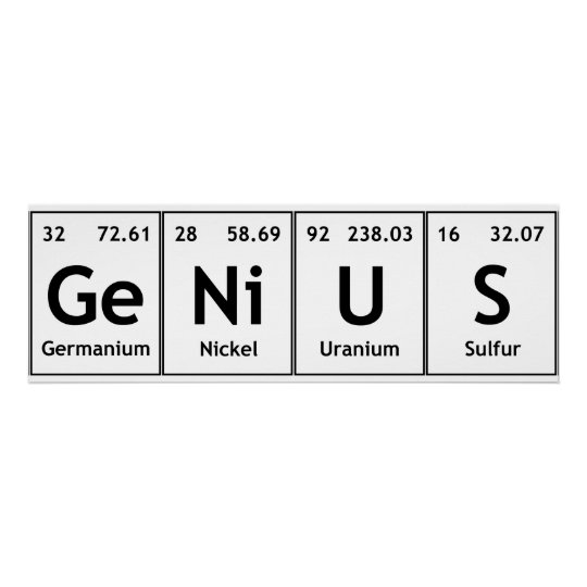 Genius chemistry periodic table words elements poster zazzle genius chemistry periodic table words elements poster urtaz Image collections
