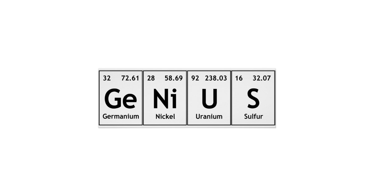 Genius Chemistry Periodic Table Words Elements Poster Zazzle
