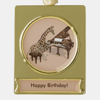 Genius Giraffe Playing Piano Gold Plated Banner Ornament