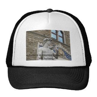 Genius is eternal patience - Michelangelo quote Hats