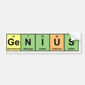 Genius - Periodic Table of Elements Products Bumper Sticker
