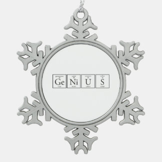 Genius Snowflake Pewter Christmas Ornament