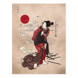 Genji kumo ukiyoye awase postcard
