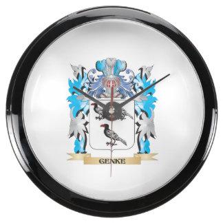 Genke Coat of Arms - Family Crest Aqua Clocks