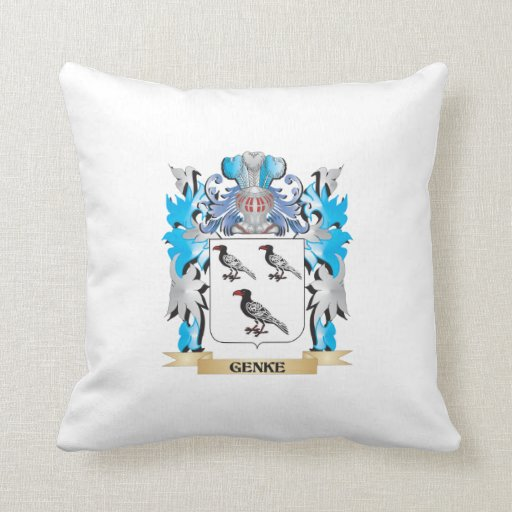 Genke Coat of Arms - Family Crest Throw Pillows