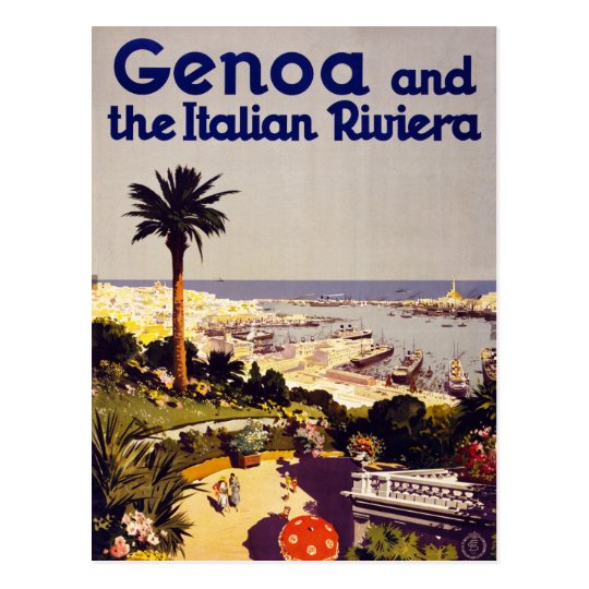Genoa and the Italian Rivera Vintage Poster Restor