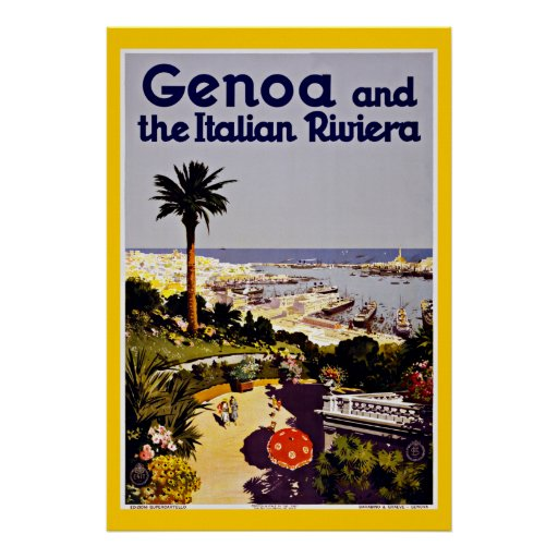 Genoa Genova Italy Vintage Travel Poster