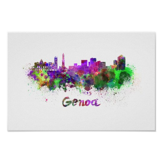 Genoa skyline in watercolor poster