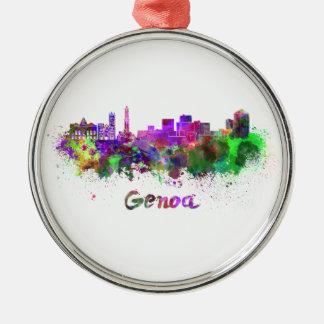 Genoa skyline in watercolor Silver-Colored round decoration