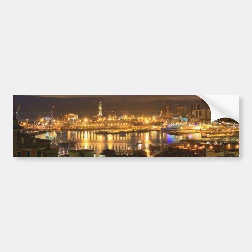 Genova and the port at evening bumper sticker