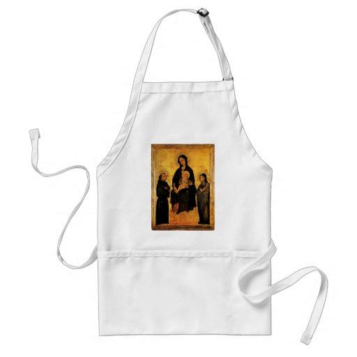 Gentile Fabriano:Madonna in Gloria between Saints Apron