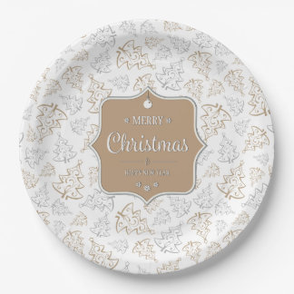Gentle Christmas Trees Paper Plate 9 Inch Paper Plate