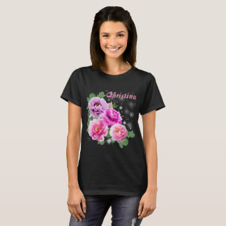 Gentle flowers pink purple peonies with sparkles T-Shirt