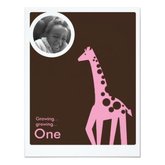 Gentle Giraffe Brown & Light Pink 11 Cm X 14 Cm Invitation Card