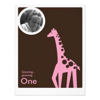 Gentle Giraffe Brown Light Pink Custom Announcements