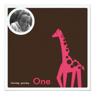 Gentle Giraffe Brown & Pink 13 Cm X 13 Cm Square Invitation Card