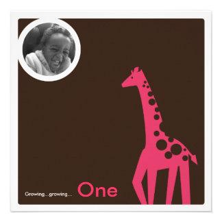Gentle Giraffe Brown Pink Custom Invites