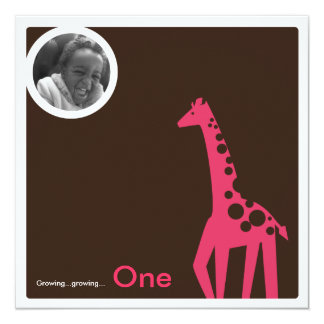 Gentle Giraffe Brown & Pink Custom Invites